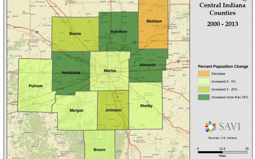Population Growth in Central Indiana