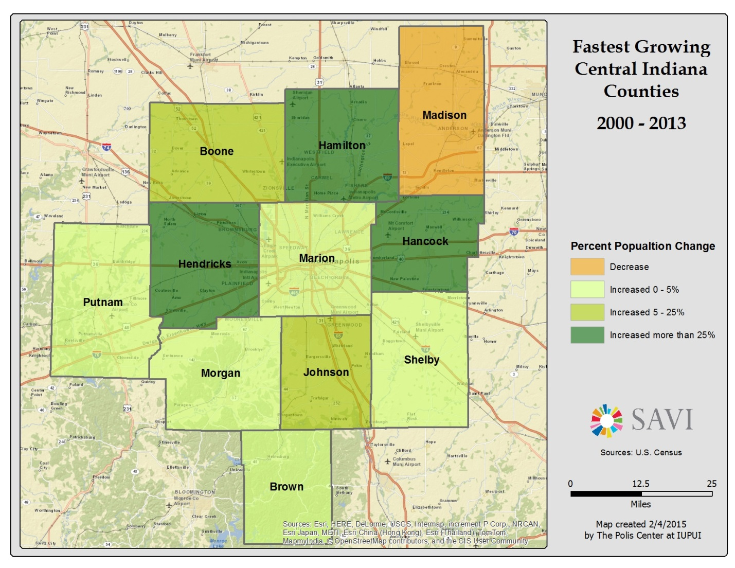SAVI Population Growth In Central Indiana - Map of indiana county us census