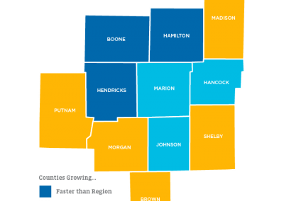 2016 Population Growth in Indianapolis, Central Indiana