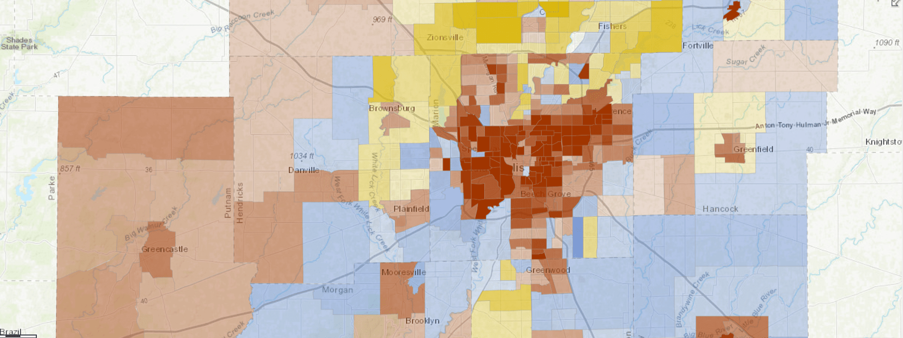Indy's Least Mixed-Income Neighborhoods