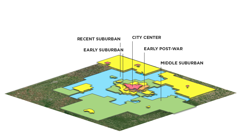Mapping Bands of Urban and Suburban Development